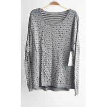 Women Round Neck Patterned Pullover Knitted Sweater